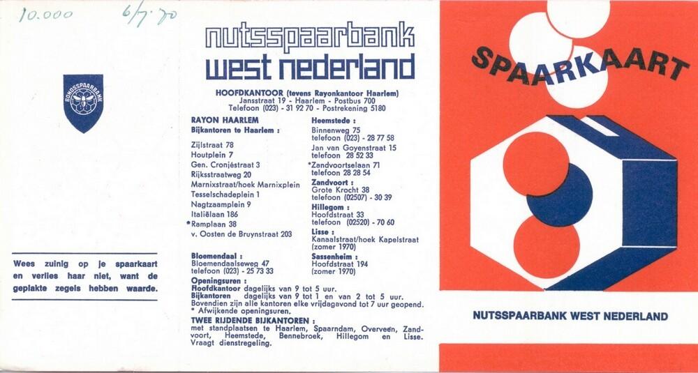 Spaarzegelkaart van de Nutsspaarbank West Nederland. Schoolsparen