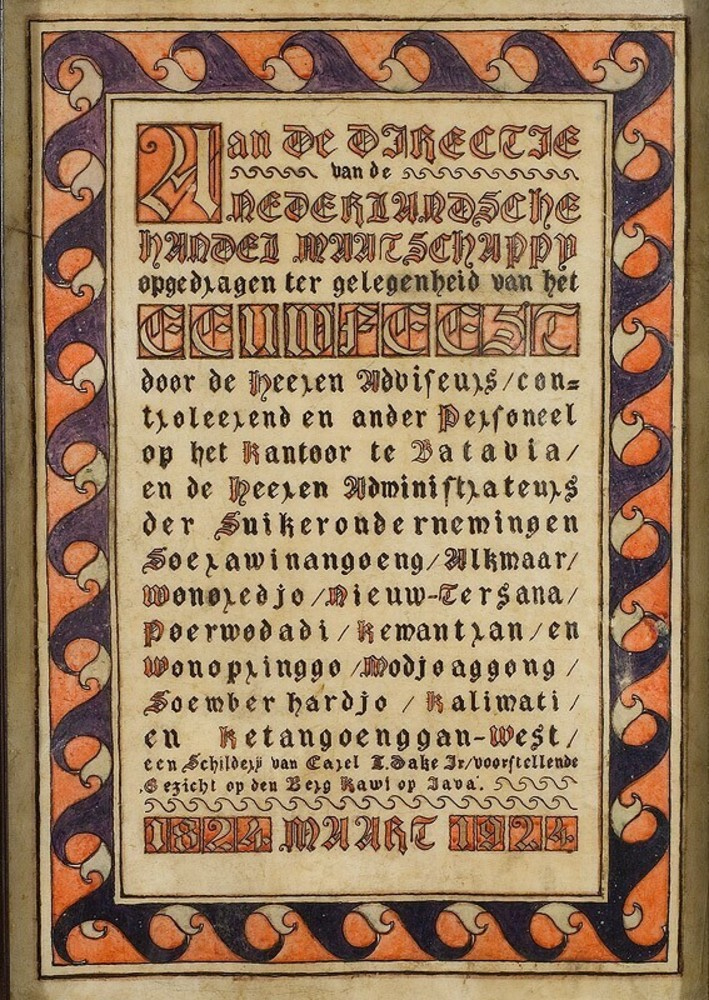 Gekalligrafeerde oorkonde Eeuwfeest Nederlandsche Handel-Maatschappij