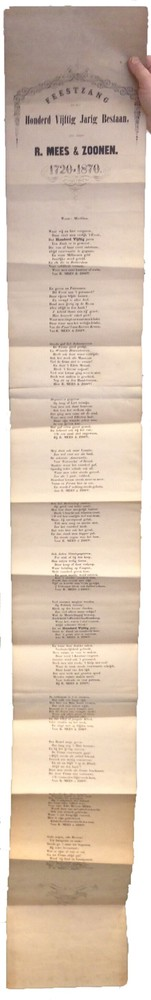 Feestzang bij het honderdvijftig jarig bestaan, der firma R. Mees & Zoonen 1720-1870