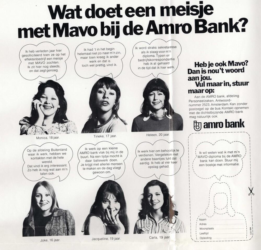 Wat doet een meisje met Mavo bij de Amro Bank?