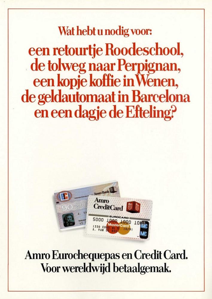 Amro Eurochequepas en Credit Card. Voor wereldwijd betaalgemak