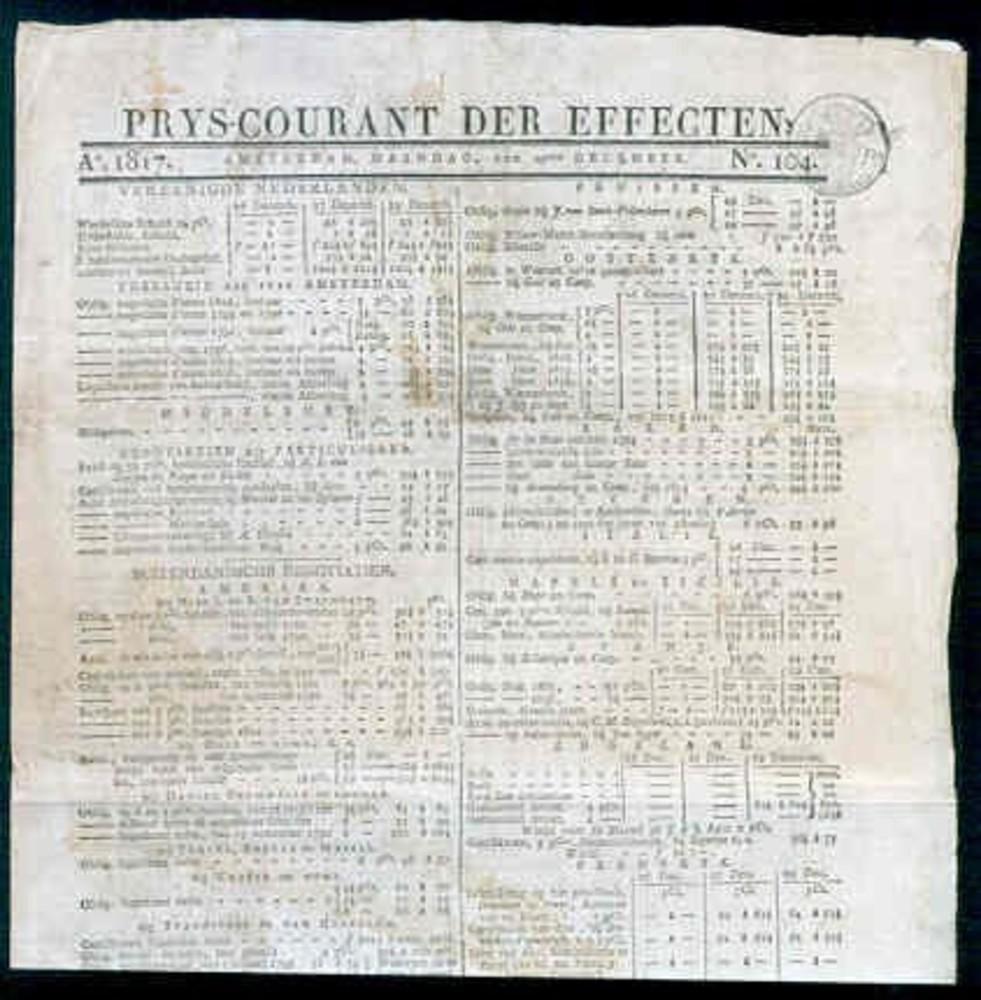 Titelblad prijscourant der effecten 1817