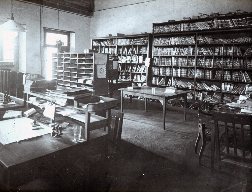 Oude kantoor aan de Kali Besar te Batavia (Jakarta), Indië (Indonesië).  Tweede afdeling archief.