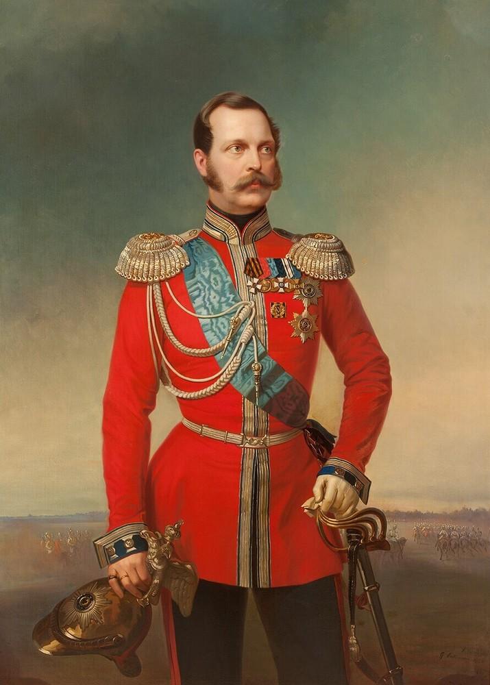 Tsaar Alexander II, in rood uniform in landschap met lage horizon en cavalerie