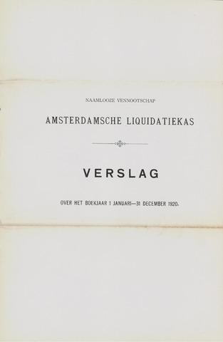 Amsterdamsche Liquidatiekas - Amsterdamsche Goederenbank 1920