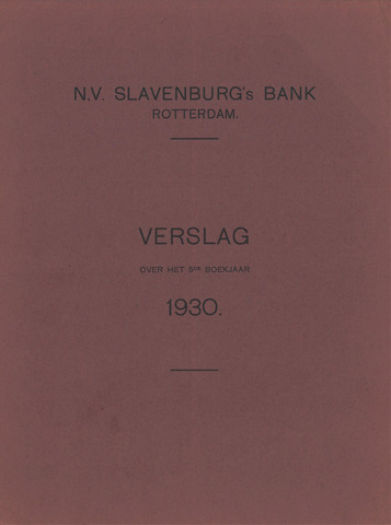 Slavenburg's Bank 1930