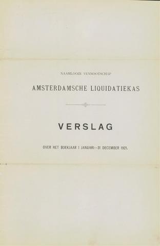 Amsterdamsche Liquidatiekas - Amsterdamsche Goederenbank 1921