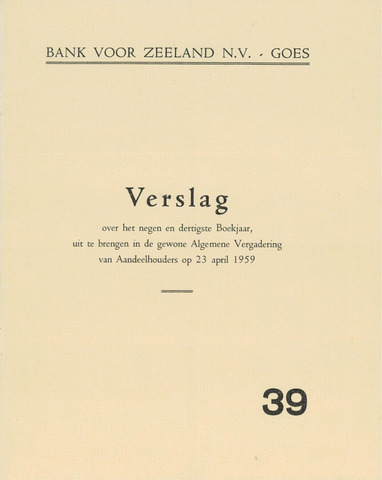 Bank voor Zeeland 1958