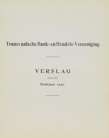 Transvaalsche Bank- en Handelsvereeniging 1920