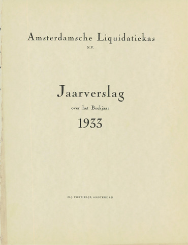 Amsterdamsche Liquidatiekas - Amsterdamsche Goederenbank 1933