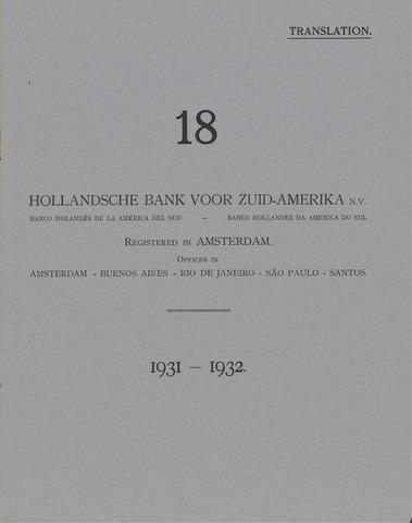 Hollandsche Bank voor Zuid-Amerika 1931