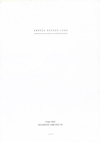 Hollandsche Bank-Unie 1984