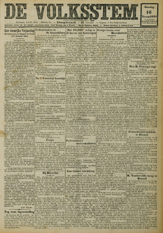 De Volksstem 1926-11-16