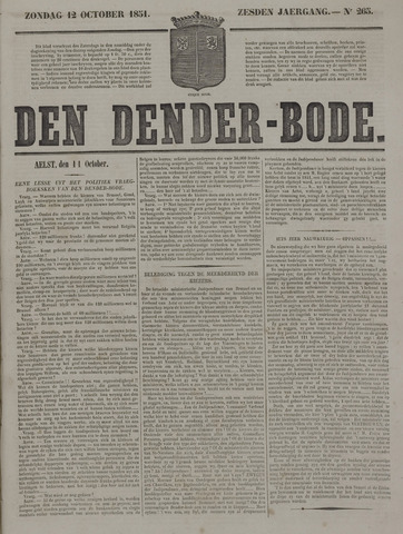 De Denderbode 1851-10-12