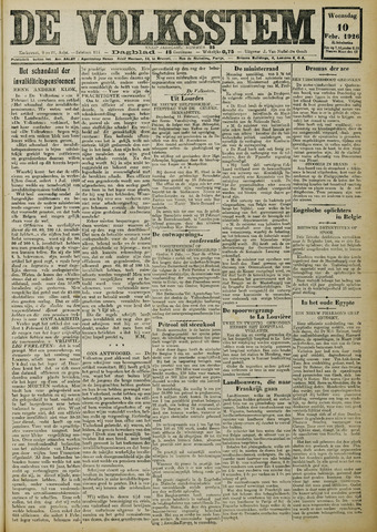 De Volksstem 1926-02-10