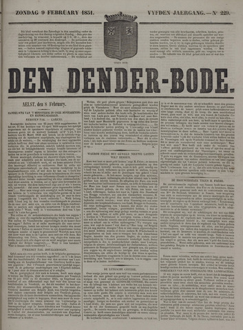 De Denderbode 1851-02-09