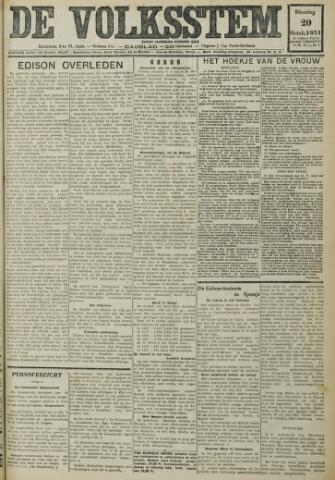 De Volksstem 1931-10-20