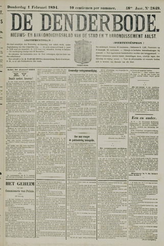 De Denderbode 1894-02-01