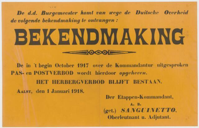 Tekstaffiches 1918