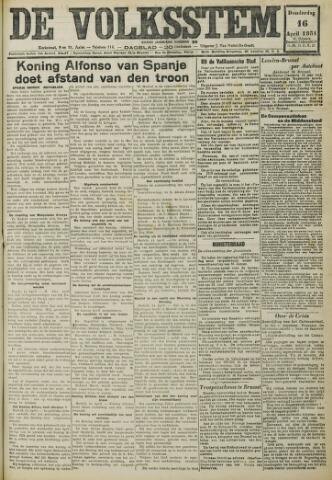De Volksstem 1931-04-16