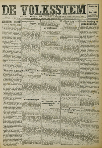 De Volksstem 1926-01-07