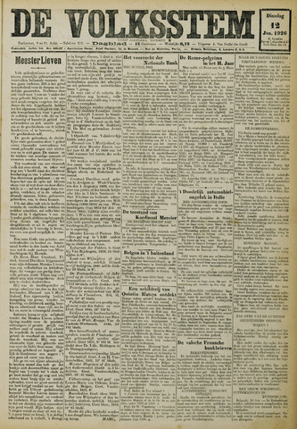 De Volksstem 1926-01-12