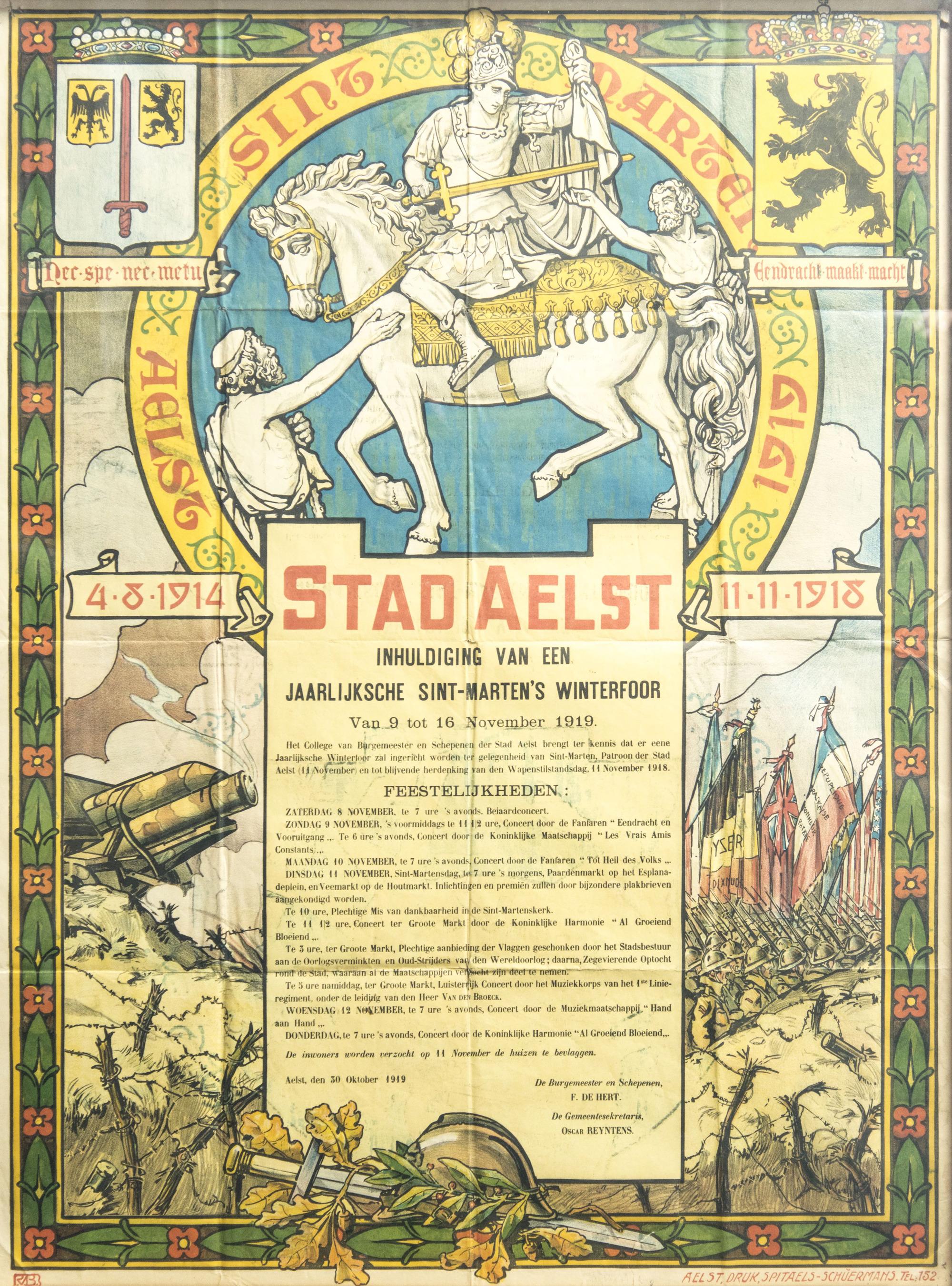 Affiche van de eerste Winterfoor na de Wapenstilstand, 1919