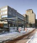 Renovatie van de Wibautstraat in de sneeuw ter hoogte van nummer 2-4 gezien rich…