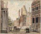 Kloveniersdoelen aan de Nieuwe Doelenstraat 24-22, met de toren Swych Utrecht, g…