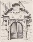 Litho van het poortje van het Zuiderkerkhof aan de Sint Antoniesbreestraat