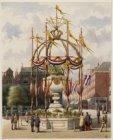 Koningsplein naar Leidsestraat gezien met versiering ter gelegenheid van het 25-…