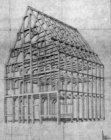 Singel 2, tekening van het houtskelet van het dubbelpakhuis De Kruiwagen