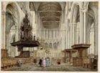 Het interieur van de Nieuwe Kerk, gezien vanuit het schip in de richting van het…