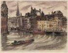 De  Amstel, gezien naar Kloveniersburgwal en Zuiderkerkstoren