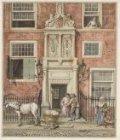 De poort van het Dolhuis, dat tot 1791 aan Kloveniersburgwal 50 stond. Boven de …