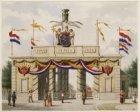 25-jarig regeringsjubileum koning Willem III. Gezien naar de versierde Haarlemme…