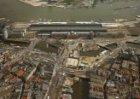 Luchtfoto Centraal Station, Stationsplein 5-33, gezien tijdens tijdens de aanleg…