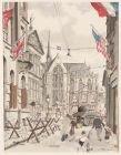 Dam vanuit Kalverstraat Amsterdam op Victory of Europe-Day (verso)