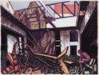 """""""Job"""", kunstenaar, zittend op de puinhopen van zijn in afbraak verkerend atelier…"""