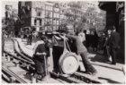 Werkzaamheden aan de tramrails aan het begin van de Leidsestraat