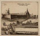 Weesper-Poort met ervoor de Singelgracht. Techniek: gravure