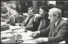 Raadszaal in het stadhuis aan de Oudezijds Voorburgwal 197 met raadsleden van he…