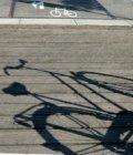 Westerpark, fietssymbool op de rijweg met schaduw van een fiets