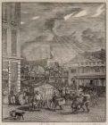 Kermis op de Botermarkt, het huidige Rembrandtplein. Techniek: houtgravure
