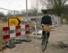 Tijdelijke maatregelen voor het fietsverkeer op de Europaboulevard bij NS Statio…