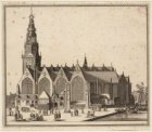Gezicht op de zuidzijde van de Oude Kerk gezien vanaf de Oudezijds Voorburgwal