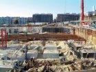 Bouwput voor de bouw van nieuwbouwwoningen in het Westerdok