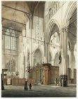 Het interieur van de Nieuwe Kerk, gezien vanuit het zuidertransept naar het noor…