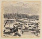 De Amstel met magere brug bij maanlicht, vanuit het  atelier of woning van Maaik…