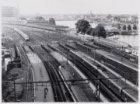Treinsporen en treinstellen aan de oostzijde van het Centraal Station